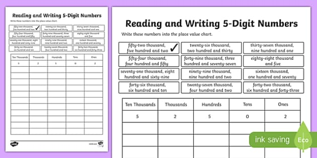 Place Value Reading and Writing 5-Digit Numbers Activity Sheet-Scottish, worksheet