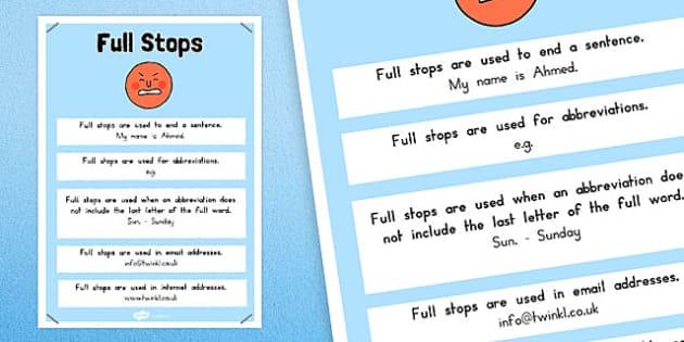 Full Stops Punctuation Poster - australia, punctuation, full stops