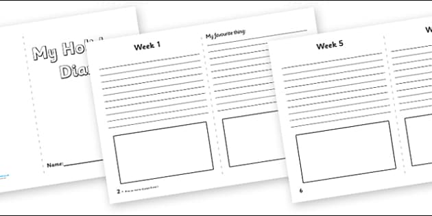 My Holiday 5 Week Diary Writing Frame - my holiday, 5 week diary, writing frame, diary, journal, five week, planner, my diary, booklet, page border, writing template, holidays, record, activity, filling in