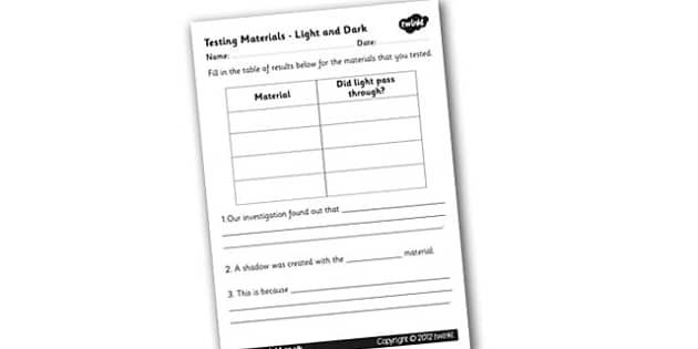 Light and Dark Testing Materials Worksheet - worksheet, testing materials, light and dark, light and dark testing materials, testing, material, light, dark