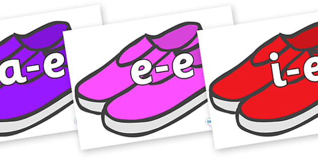 Modifying E Letters on Shoes - Modifying E, letters, modify, Phase 5, Phase five, alternative spellings for phonemes, DfES letters and Sounds