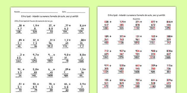 Afla cifrele numarului, Fisa - matematica, adunare, scadere