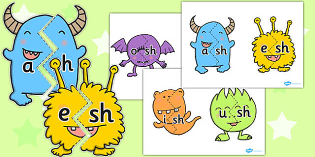 Vowel and Final 'Sh' Monster Jigsaws - sh sound, final, vowel
