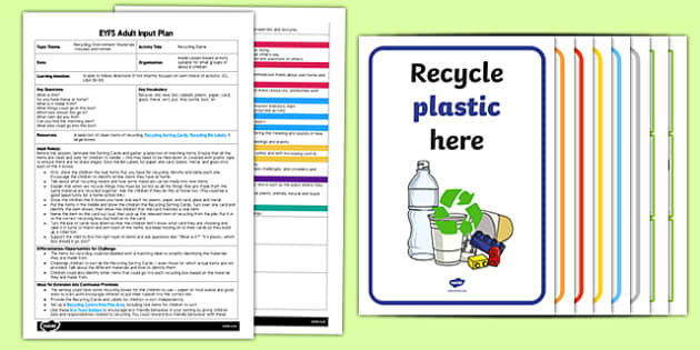 EYFS Recycling Game Adult Input Plan and Resource Pack - EYFS, Early Years planning, adult led, materials, environment, everyday life, CL, Communication and Language.
