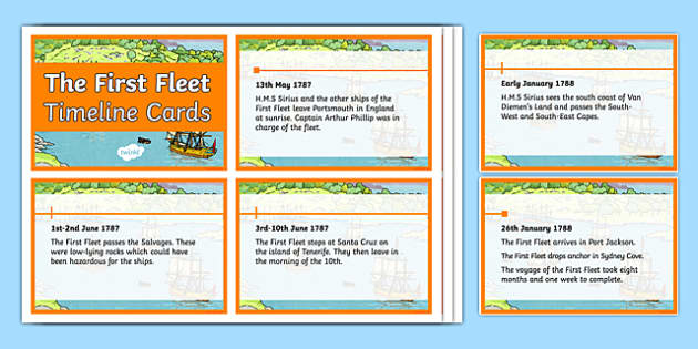 The First Fleet Voyage Timeline Cards - australia, The First Fleet, voyage, timeline, cards, display, first fleet, history