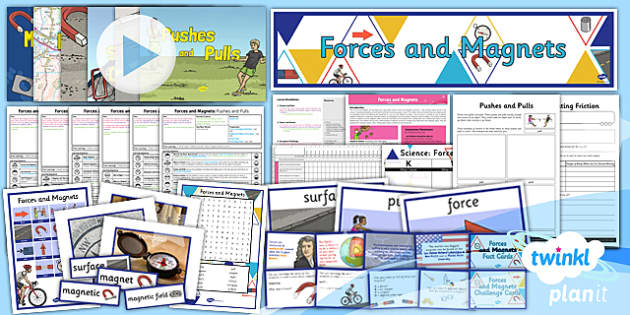 PlanIt Science Year 3 Forces and Magnets Unit Pack - topic, planning, information, ks2, key stage 2, uks2, science, national curriculum, resources, display, balance, energy, newton, poles, attraction