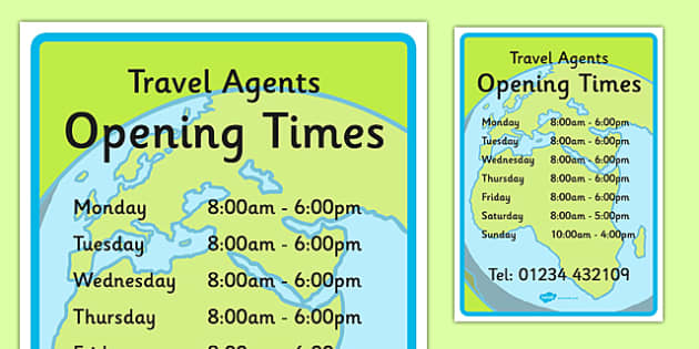Travel Agents Opening Times - Travel agent, holiday, travel, role play, open, closed, Opening Times, open, holidays, agent, booking, plane, flight, hotel
