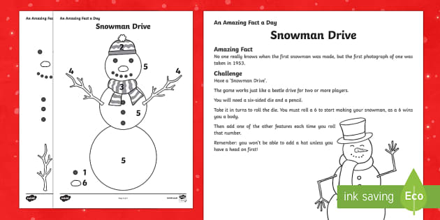 Amazing Fact a Day KS2 Countdown to Christmas Day 20 Snowman Drive Activity Sheet - Amazing Fact Of The Day, activity sheets, powerpoint, starter, morning activity, worksheet. Workshee
