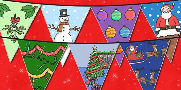 Christmas Themed Display Bunting - christmas, bunting, display