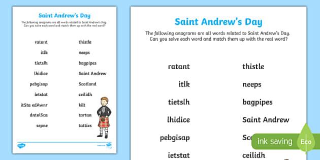 Saint Andrew's Day Anagram Activity-Scottish