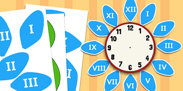 Roman Numerals Labels for Clock Flower - roman numerals, clock