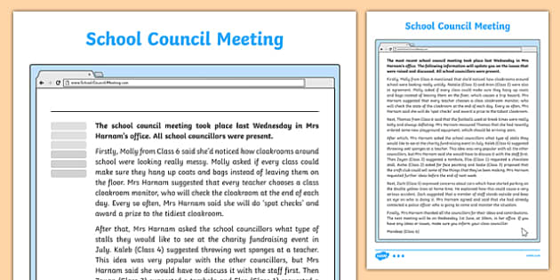 School Council Meeting Recount Writing Sample