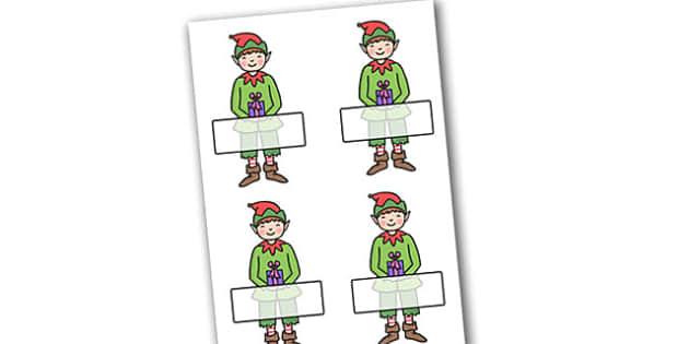 Christmas Editable Self Registration Boy Elf - christmas, xmas, self registration, self-registration, editable, editable labels, editable self registration labels, labels, registration, child name label, boy elf, elf, name label, register