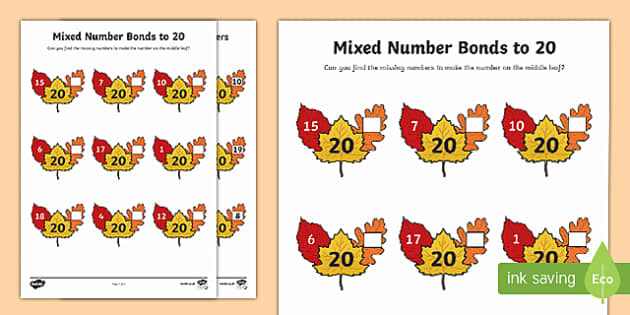 Mixed Number Bonds to 20 Activity Sheet