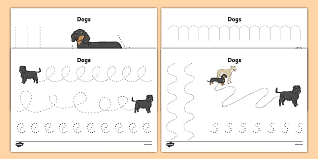 Dog Themed Pencil Control Sheets - Dame Lynley Dodd, hairy maclary, pencil control sheets