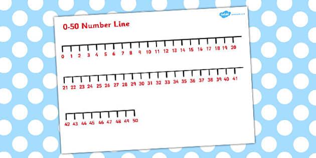 0-50 Number Line - number line, number, line, 0-50, 50, 0, lines