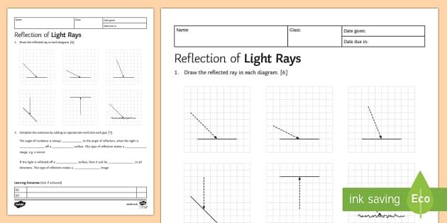 KS3 Reflection Homework Activity Sheet - Homework, light, reflection, reflect, angle, incidence angle, reflection angle, equal, scattered, mi