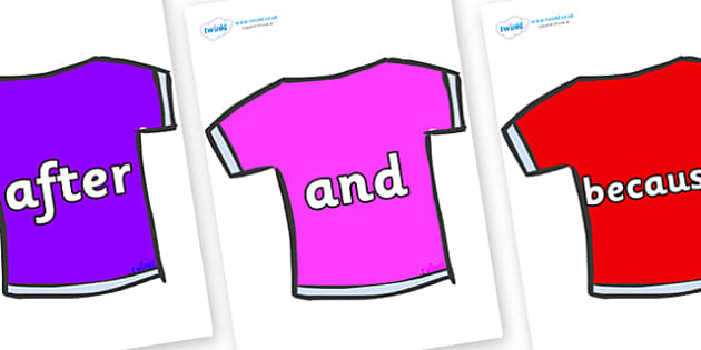 Connectives on T-Shirts - Connectives, VCOP, connective resources, connectives display words, connective displays