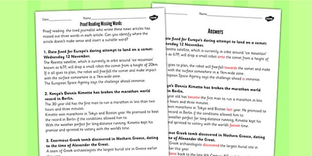 Proof Reading Missing Words Using Newspaper Articles Worksheet