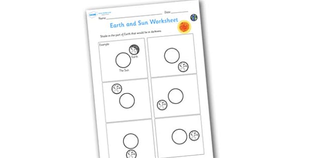 Earth and Sun Shading Worksheet - worksheets, worksheet, work sheet, sheets, eath and sun worksheet, earth and sun shading, shading worksheet, earth worksheet, sun worksheet, space worksheet, activity, writing frame, filling in, writing activity
