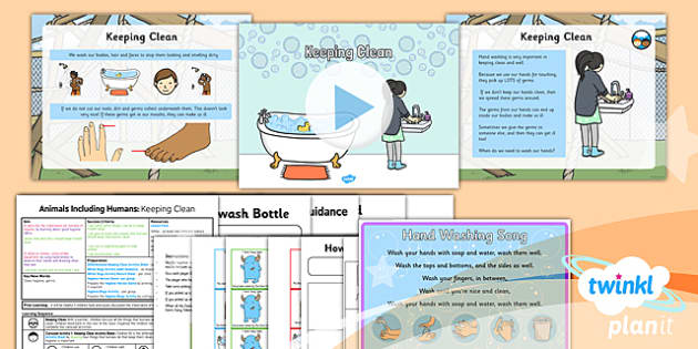 PlanIt - Science Year 2 - Animals Including Humans Lesson 6: Keeping Clean Lesson Pack