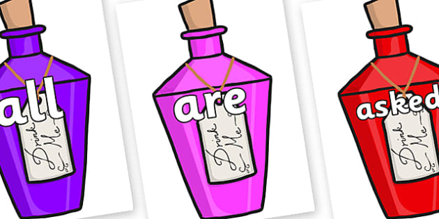 Tricky Words on Drink Me Bottles - Tricky words, DfES Letters and Sounds, Letters and sounds, display, words