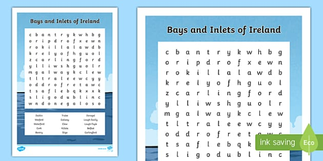 Bays and Inlets of Ireland Word Search-Irish