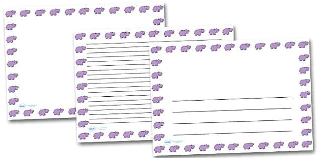 Hippo Portrait Page Borders- Portrait Page Borders - Page border, border, writing template, writing aid, writing frame, a4 border, template, templates, landscape