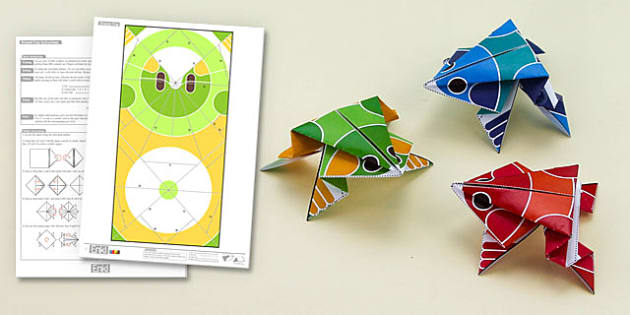 Enkl Origami Frog Printable - Enkl, arts, crafts, activity, adult, home, decor, designer, designer, decoration, interior, project, printable, cute, simple, paper, models, 3D, shape, colour, frog, origami