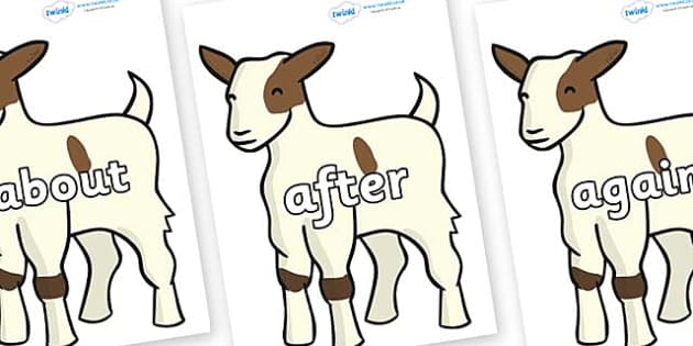 KS1 Keywords on Baby Goats - KS1, CLL, Communication language and literacy, Display, Key words, high frequency words, foundation stage literacy, DfES Letters and Sounds, Letters and Sounds, spelling