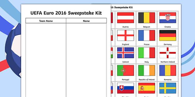 Football UEFA Euro 2016 Sweepstake Kit - football, uefa, euro 2016, world cup, sweepstake kit