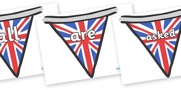 Tricky Words on Bunting (British) - Tricky words, DfES Letters and Sounds, Letters and sounds, display, words