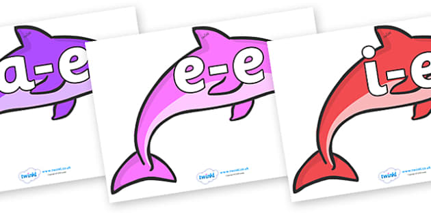 Modifying E Letters on Dolphins (Multicolour) - Modifying E, letters, modify, Phase 5, Phase five, alternative spellings for phonemes, DfES letters and Sounds