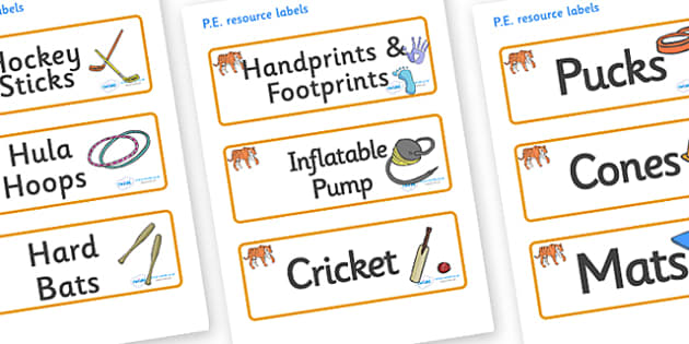 Tiger Themed Editable PE Resource Labels - Themed PE label, PE equipment, PE, physical education, PE cupboard, PE, physical development, quoits, cones, bats, balls, Resource Label, Editable Labels, KS1 Labels, Foundation Labels, Foundation Stage Labe