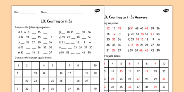 Common Worksheets counting to 30 worksheet : in 3s Worksheet - counting, worksheet, 3, numbers, math