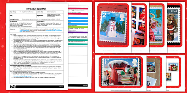 Making Christmas Stamps EYFS Adult Input Plan and Resource Pack to Support Teaching on The Jolly Christmas Postman - EYFS, Early Years, planning, Christmas, EAD, Expressive Arts and Design, Janet and Allan Ahlberg, The Jolly Christmas Postman
