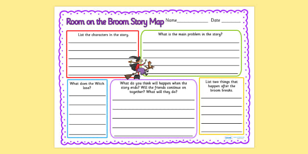 Room on the Broom Story Map Writing Frame - room on the broom, story map, story, map, reading, writing, english, literacy, character description, comprehension