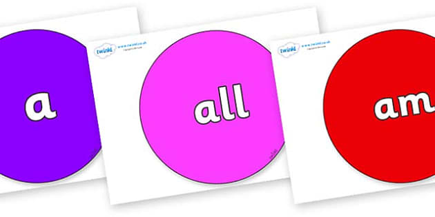 Foundation Stage 2 Keywords on Circles - FS2, CLL, keywords, Communication language and literacy,  Display, Key words, high frequency words, foundation stage literacy, DfES Letters and Sounds, Letters and Sounds, spelling