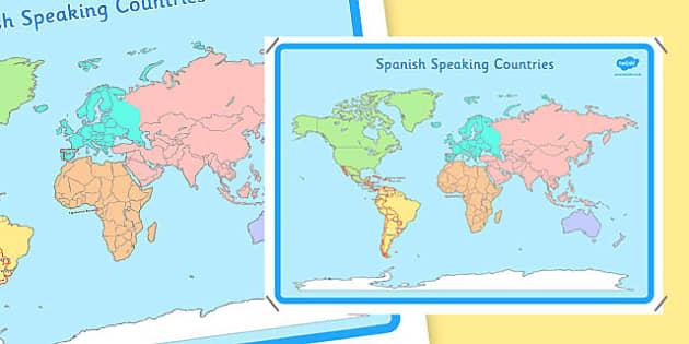 Spanish Speaking Countries Map - spanish, language, speaking, countries, map
