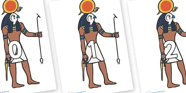 Numbers 0-31 on Egyptian Figures - 0-31, foundation stage numeracy, Number recognition, Number flashcards, counting, number frieze, Display numbers, number posters
