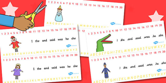 Punch and Judy Combined Number and Alphabet Strips - number, judy