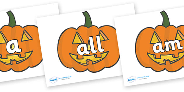 Foundation Stage 2 Keywords on Jack O'lanterns - FS2, CLL, keywords, Communication language and literacy,  Display, Key words, high frequency words, foundation stage literacy, DfES Letters and Sounds, Letters and Sounds, spelling
