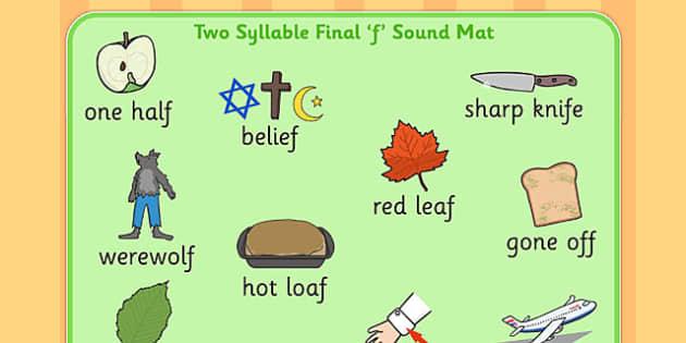 Two Syllable Final 'F' Sound Word Mat 2 - final f, sound, mat