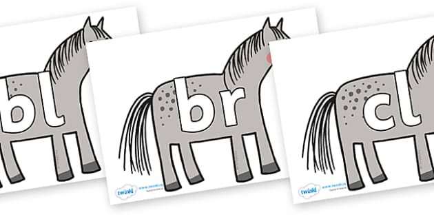 Initial Letter Blends on Horse to Support Teaching on What the Ladybird Heard - Initial Letters, initial letter, letter blend, letter blends, consonant, consonants, digraph, trigraph, literacy, alphabet, letters, foundation stage literacy