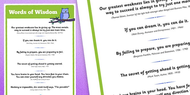 Words of Wisdom Display Poster - inspiration, class management