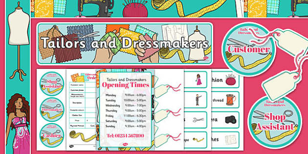 Tailors and Dressmakers Shop Role Play Pack - tailors, dressmakers, shop, role play, pack