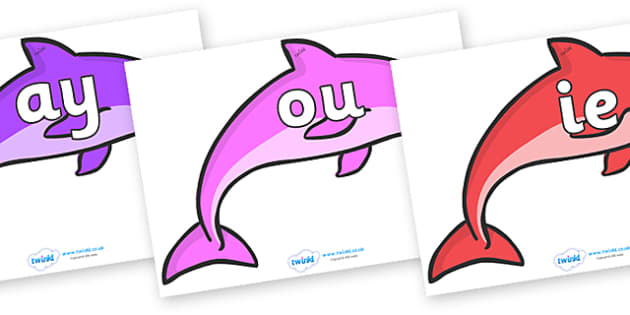 Phase 5 Phonemes on Dolphins - Phonemes, phoneme, Phase 5, Phase five, Foundation, Literacy, Letters and Sounds, DfES, display