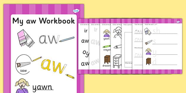 Phase 5 aw Grapheme Workbook - phase five, graphemes, literacy