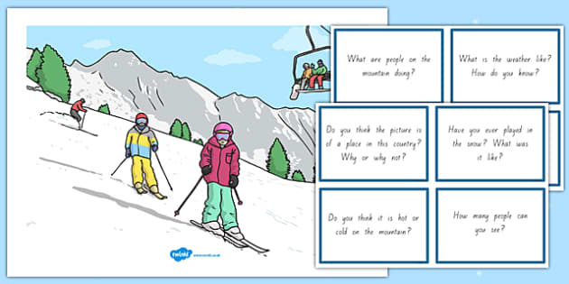 Winter Sports Scene and Question Cards