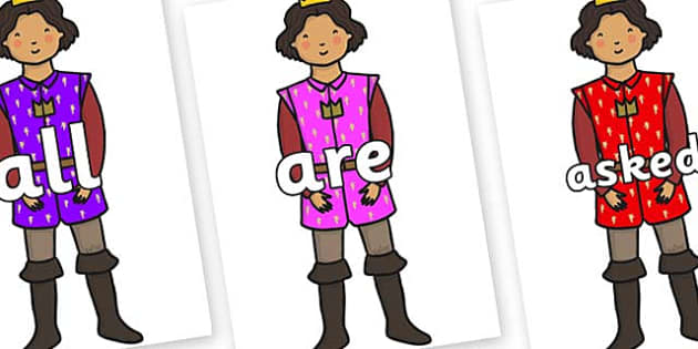 Tricky Words on Princes - Tricky words, DfES Letters and Sounds, Letters and sounds, display, words